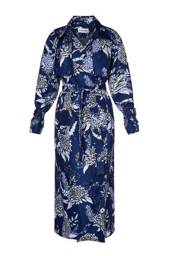 Chrysanthemum Trench Coat - Navy