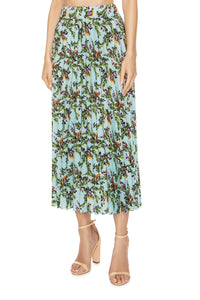 Juicy Cranberries Pleated Skirt - Blue