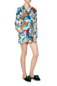 Silk Pajama Shorts Set - Bright Leaves Print