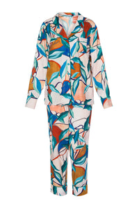 Silk Long Sleeve Pajamas - Bright Leaves Print