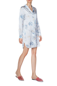 Silk Shirtdress - Stripe Print