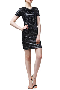 Cowl Neck Sequin Sheath Dress
