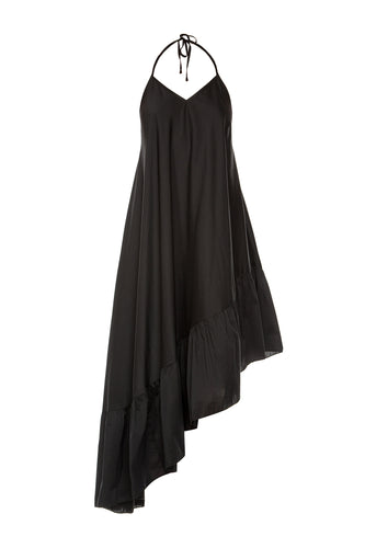 Asymmetric Ruffle Slip Dress - Black