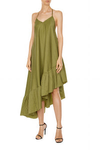 Asymmetric Ruffle Slip Dress - Chartreuse Check