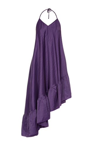 Asymmetric Ruffle Slip Dress - Violet Check