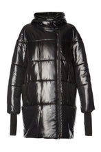 Load image into Gallery viewer, Diana Cocoon Coat - Glossy Black