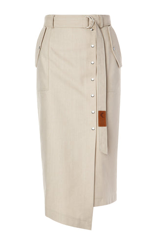 Sue Belted Pencil Skirt - Khaki