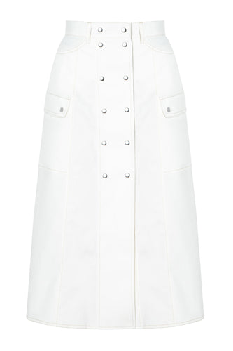 Saskia Button Front Skirt - White