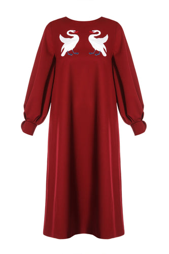 Embellished Swan Dress - Burgundy