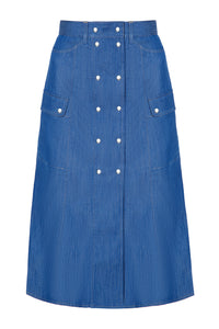 Saskia Button Front Skirt - Blue