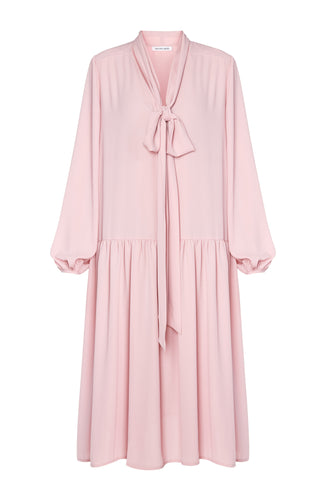 Ellie Tie Neck Dress - Pink