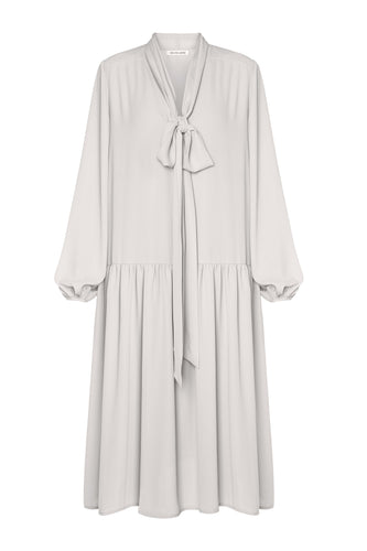 Ellie Tie Neck Dress - Ivory
