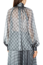 Load image into Gallery viewer, Luisa Sheer Plaid Tie Neck Blouse