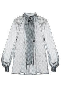 Luisa Sheer Plaid Tie Neck Blouse