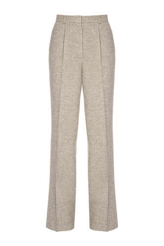 Tapered Herringbone Cashmere Trousers