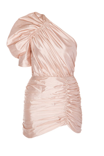 Ruched One Shoulder Silk Dress