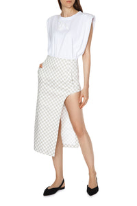 High Low Checkered Skirt