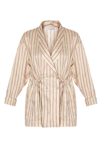 Shawl Collar Drawstring Jacket