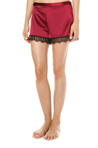 Satin Lace Trim Shorts - Red