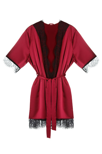 Satin Lace Trim Robe - Red