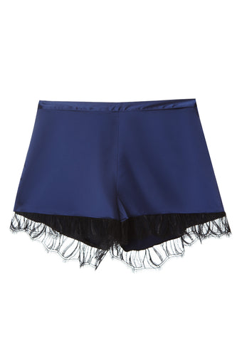Satin Lace Trim Shorts - Navy