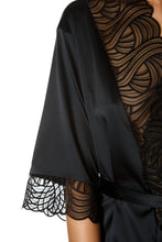 Load image into Gallery viewer, Satin Lace Trim Robe - Black