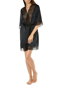 Satin Lace Trim Robe - Black