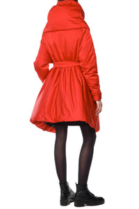 Sculpted Scarf Puffer Coat - Red