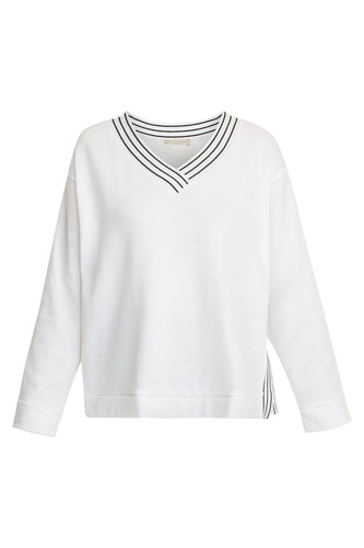 V Neck Sweater - White