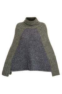 Colorblocked Knit Poncho