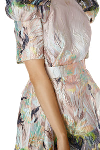Painted Floral Puff Shoulder Dress