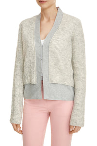 Mixed Stitch Double Knit Cardigan