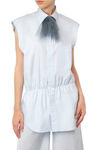 Chiffon Trim Short Sleeved Shirt