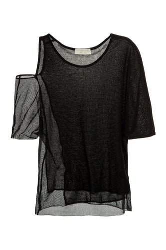 Mixed Knit One Shoulder Tee