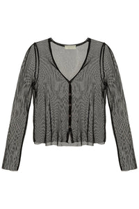Mesh Knit Cardigan - Black