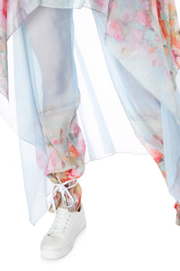 Watercolor Floral Pants with Chiffon Overskirt
