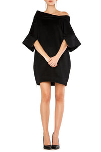 Off Shoulder Cape Pocket Dress
