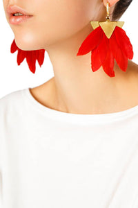 Feather Earrings - Red