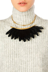 Feather Collar Necklace - Black