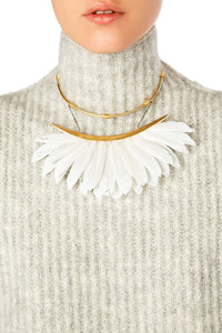 Feather Collar Necklace - White