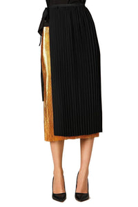 Long Pleated Tie Skirt