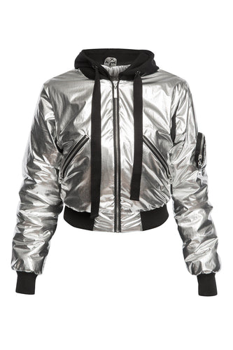 Metallic Convertible Bomber Jacket