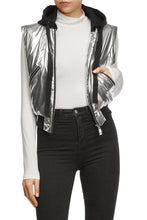 Load image into Gallery viewer, Metallic Convertible Bomber Jacket
