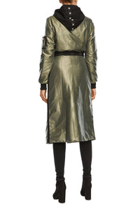 Metallic Convertible Coat - Green