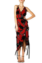Load image into Gallery viewer, Flower Applique Halter Dress