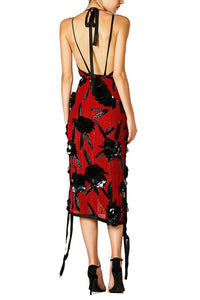 Flower Applique Halter Dress