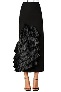 Raffia Tiered Slim Skirt
