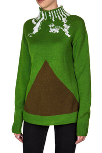 Triangle Mock Turtleneck Sweater