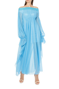Off Shoulder Tulle Maxi Dress
