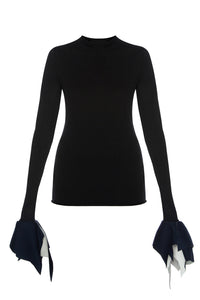 Tee with Neoprene Cuffs - Black
